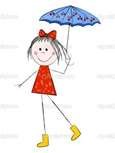 Cute girl with umbrella isolated on white